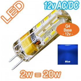 G4 Silica Bi-Pin 2w=20w LED Lamp - 12v AC/DC Globe - Blue