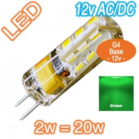 G4 Silica Bi-Pin 2w=20w LED Lamp - 12v AC/DC Globe - Green