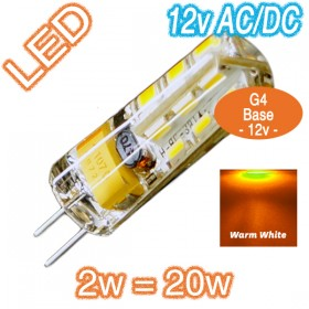 G4 Silica Bi-Pin 2w=20w LED Lamp - 12v AC/DC Globe - Warm White