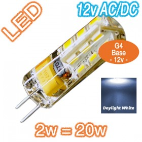 G4 Silica Bi-Pin 2w=20w LED Lamp - 12v AC/DC Globe - Daylight White