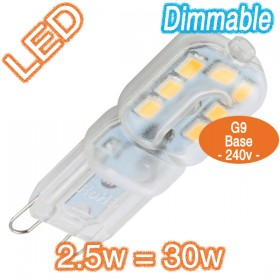 G9 2.5w=30w Dimmable LED Lamp - 240v SMD Globe