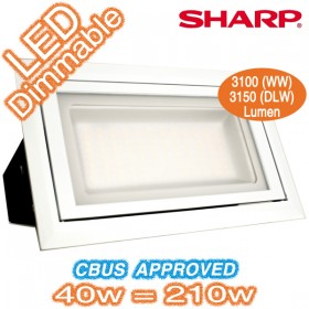 Marz 40w Dimmable LED White Rectangle Downlight Kit