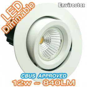 12w Dimmable COB LED MDL703 White Gimble Downlight Kit