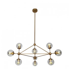 Moet LED 10Light Pendant Light - Burnished Brass + Clear Glass