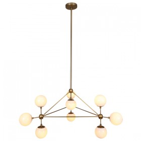 Moet LED 10Light Pendant Light - Burnished Brass + Opal Glass