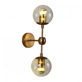 Moet LED 2Light Wall Light - Burnished Brass + Clear Glass