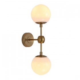Moet LED 2Light Wall Light - Burnished Brass + Opal Glass