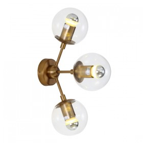 Moet LED 3Light Wall Light - Burnished Brass + Clear Glass