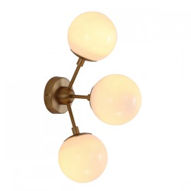 Moet LED 3Light Wall Light - Burnished Brass + Opal Glass