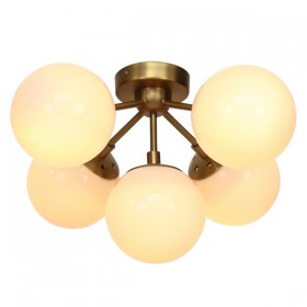 Moet LED 5Light CTC - Burnished Brass + Opal Glass