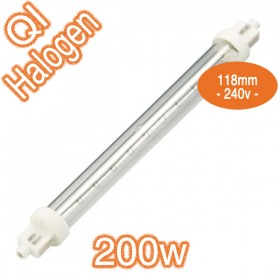 Double Jacketed Linear Halogen 200w Lamp - QI 118mm 240v Globe