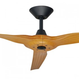"Radical2 60"" DC Polymer 3Blade Ceiling Fan - Matt Black + Bamboo"