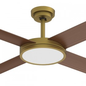 "Revolution3 52"" with Dimming LED AC Polymer 4Blade Ceiling Fan - Antique Brass"