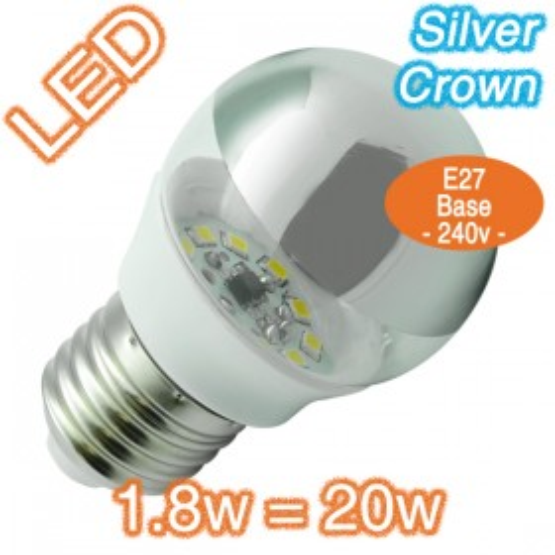 1.8w=20w E27 Fancy Round Silver Crown LED Lamp - 240v Globe