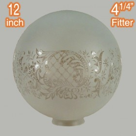 "12"" Sphere Glass Shade - Sheffield Etched"