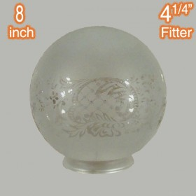 "8"" Sphere Glass Shade - Sheffield Etched"