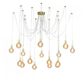 Spider 16Light Pendant with Mooney - Gold