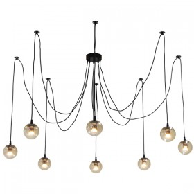 Spider 8Light Pendant with LED Moet Black + Champagne Glass