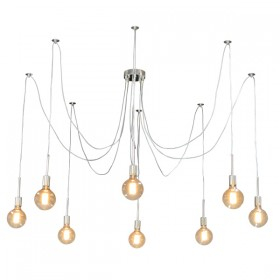 Spider 8Light Pendant with Mooney - Nickel
