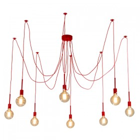 Spider 8Light Pendant with Mooney - Red