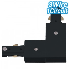 Black L-Shaped Joiner - 3Wire 1Circuit