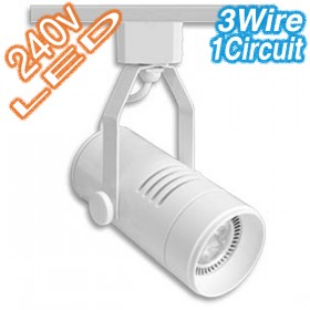 White LED Cylinder Track Light - 3Wire 1Circuit