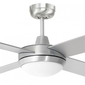 "Tempest 52"" with LED Light AC Timber 4Blade Ceiling Fan - Brushed Aluminium"