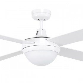 "Tempo 48"" with E27 Light AC Timber 4Blade Ceiling Fan - White"