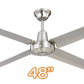 "Typhoon M3 48"" AC Metal 4Blade Ceiling Fan - Brushed Chrome"