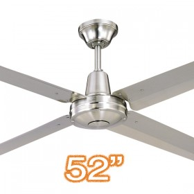 "Typhoon M3 52"" AC Metal 4Blade Ceiling Fan - Brushed Chrome"