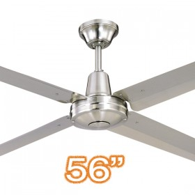 "Typhoon M3 56"" AC Metal 4Blade Ceiling Fan - Brushed Chrome"