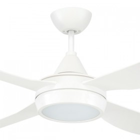 "Vector 48"" with LED Light AC ABS 4Blade Ceiling Fan - White"