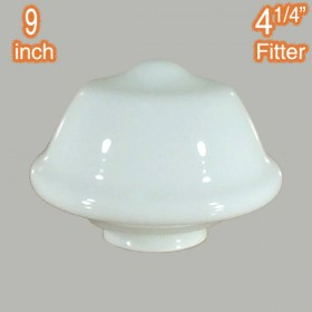 "Victorian Schoolhouse 9"" Glass Shade - Opal Gloss"