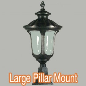 Waterford Large Outdoor Pillar Mount Light - Antique Black