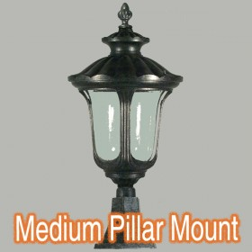 Waterford Medium Outdoor Pillar Mount Light - Antique Black