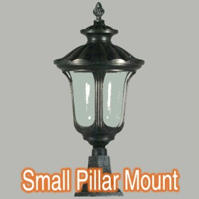 Waterford Small Outdoor Pillar Mount Light - Antique Black