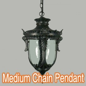Wellington Medium Chain Pendant Light - Antique Black
