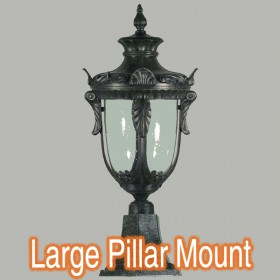 Wellington Large Outdoor Pillar Mount Light - Antique Black