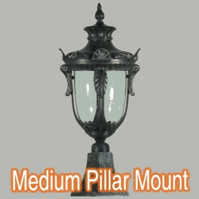 Wellington Medium Outdoor Pillar Mount Light - Antique Black