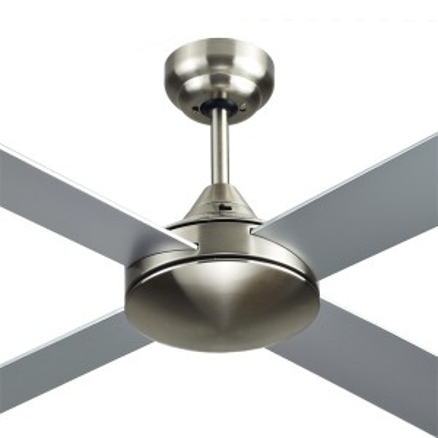 "Aluminium Azure 48"" AC Timber Bedroom Ceiling Fans Brushed Nickel Hunter Pacific"
