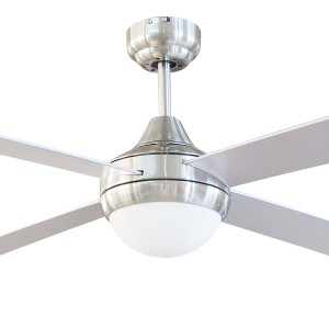 """Brushed Chrome Ceiling Fan Tempo 48"""" with E27 Light AC Timber Brilliant Lighting"""