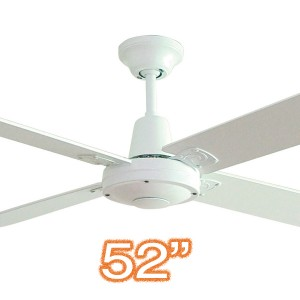 """Quiet Indoor Ceiling Fan Typhoon M3 52"""" AC Plywood White Hunter Pacific"""