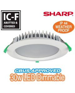 30w LED Downlight IC-F CBUS Dimmable White Round