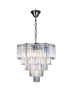 Crystal Spiral Chandelier Celestial 10 Lights Lighting 5 Tier Chrome Pendants Lode International