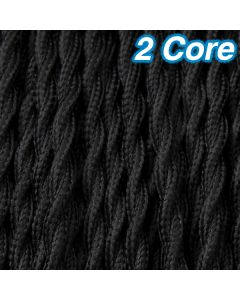 Cheap 2 Core Lighting Cables Black Twisted Fabric Cloth Cords 240v