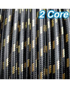 Black & Gold Fabric Cloth Cord 2 Core Lighting Cable 240v