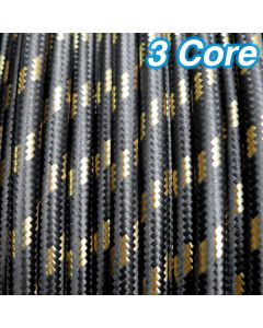 Black & Gold Fabric Cloth Cord Cable 3 Core 240v
