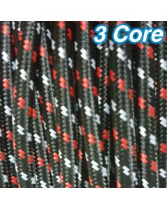 Black Red White Fabric Cloth Cord Cable 3 Core 240v