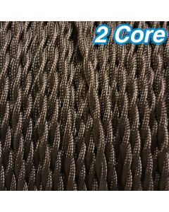 Cheap Brown Twisted Lighting Cables Fabric Cloth Cords 2 Core 240v