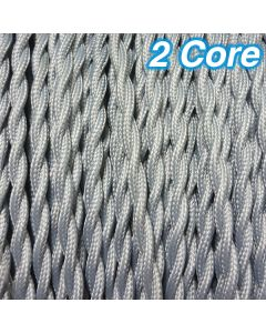 Cheap Grey Twisted Fabric Cloth Cords 2 Core Lighting Cables 240v